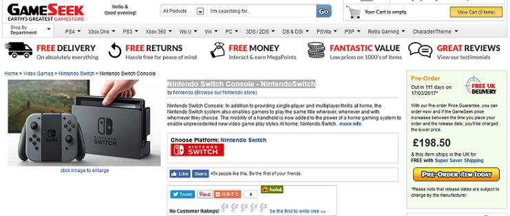 イギリスの大手ゲームショップGameSeekで「Nintendo Switch」の事前予約を開始