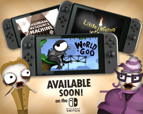 『World of Goo』『Little Inferno』『Human Resource Machine』が海外で3月3日に発売。 スイッチ版には『Soundtrack Mode』も収録