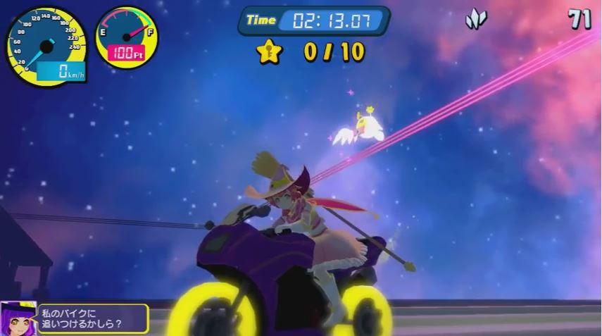 ポイソフトが発売するスイッチ用『空飛ぶブンブンバーン』のPVが公開! 魔法少女がバイクにまたがるレースゲーム