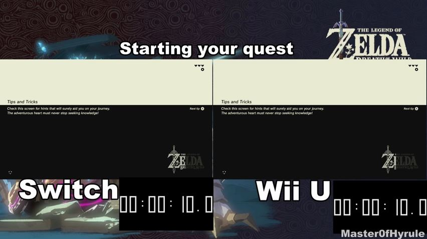 『ゼルダの伝説 ブレス オブ ザ ワイルド』のSwitch版とWiiU版のロード時間比較動画