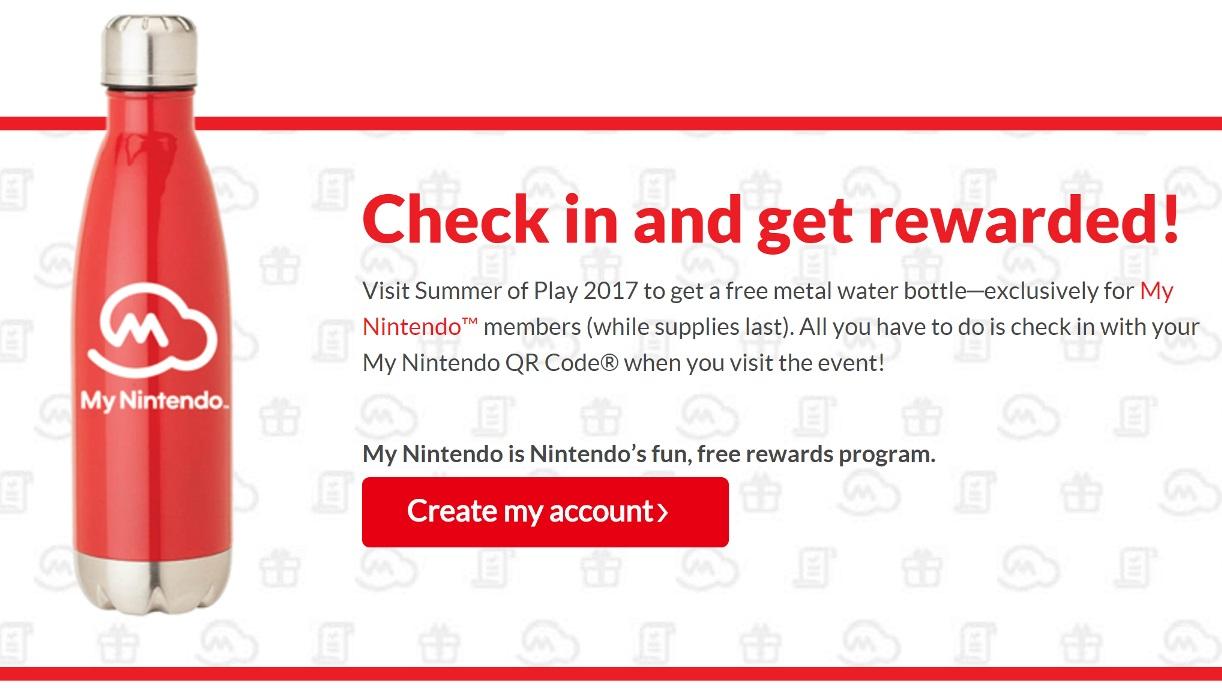 米国のイベント「Nintendo Summer of Play 2017」に参加するとSwitchのウォーターボトルがもらえる!