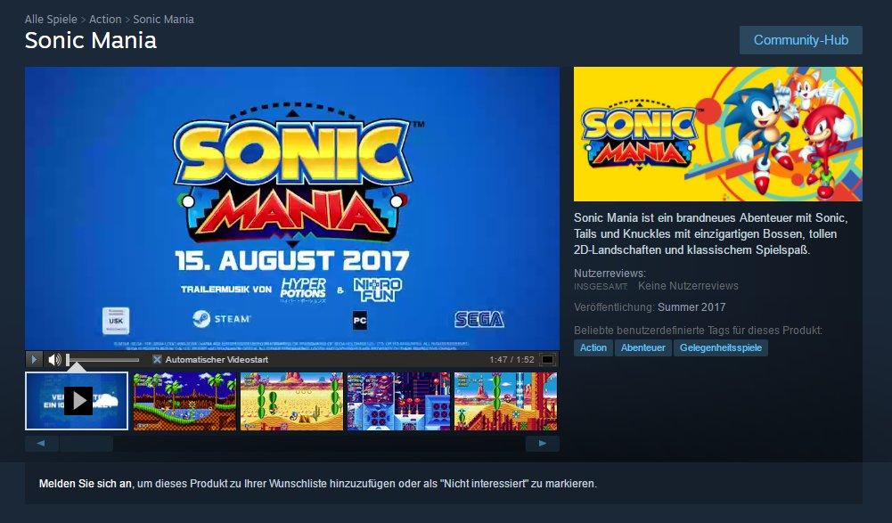 『Sonic Mania (ソニックマニア)』の発売日は2017年8月15日に?