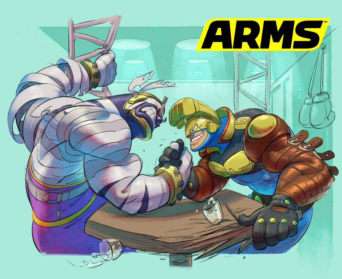 『ARMS』 マスターマミーVSマックスブラスがアームレスリングで対決するイラストが公開!