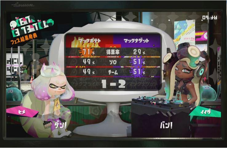 『スプラトゥーン2』 第2回フェス「マックフライポテト」VS「チキンマックナゲット」の結果!