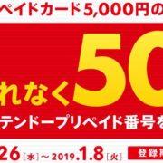 2018月12月26日~1月8日まで「セブンイレブン」でニンテンドープリペイドカード5000円を購入して登録することで、もれなく500円分のプリペイド番号がもらえるキャンペーンがスタート!ローソンでも同様のキャンペーンが開催中!