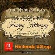 Switch版『Aviary Attorney: Definitive Edition』が海外向けとして2020年1月30日に配信決定!鳥人間による法廷アドベンチャーゲーム