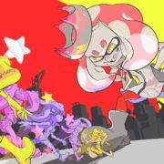 『スプラトゥーン2』のSMB 35周年フェス「どっちになりたい? スーパーキノコで巨大化 vs スーパースターで無敵」のイラストが公開!